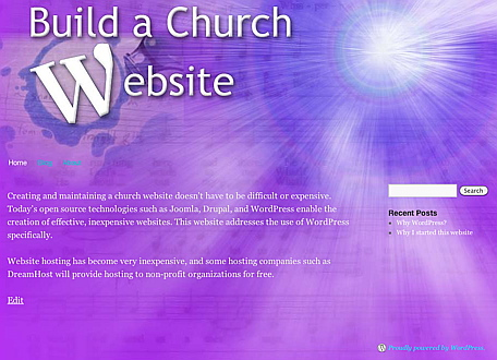 Build A Church Website Home Page