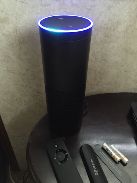 Amazon Echo showing blue light ring