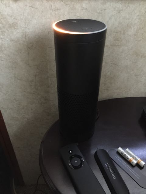 Amazon Echo showing orange light ring
