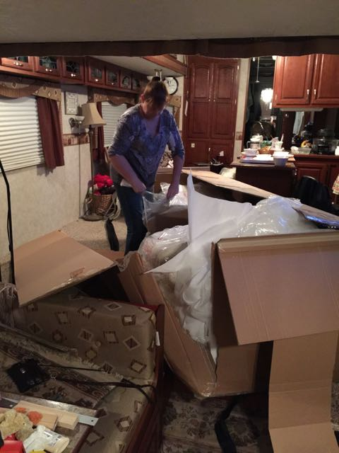 Unpacking the new couch