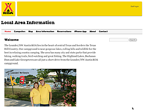 Leander KOA Website Home Page