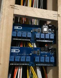 Boards mounted behind panel